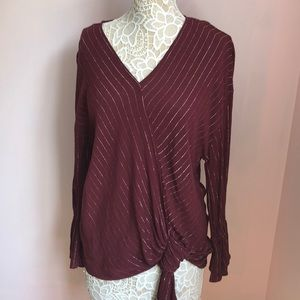 Gorgeous maroon and silver sparkly striped blouse